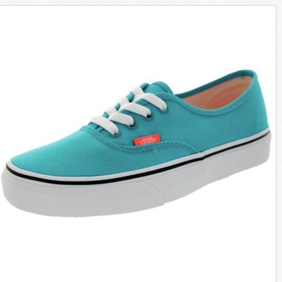 Vans Authentic Neon Tile Blue Coral Skate Shoes🌹 7b25c88473